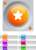 Star color round button. Star vibrant round button with additional buttons stock illustration