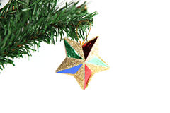 Star of colorful hanging on branch Christmas tree. Royalty Free Stock Photography