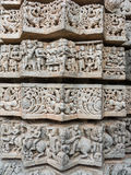 Star Column. A intricately carved pattern on a wall at the 13th Century temple of Somanathapur, South India stock photo