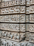 Star Column. A intricately carved pattern on a wall at the 13th Century temple of Somanathapur, South India stock image