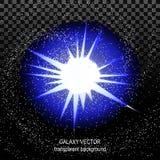 Star con il blu bianco dei raggi in spazio isolato e tunnel di effetto Fotografia Stock Libera da Diritti