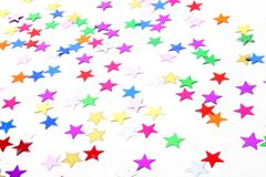 Star Confetti. Colorful star confetti isolated on white Stock Photos