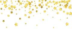 Star confetti. Gold random confetti background Stock Image