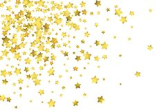 Star confetti. Gold random confetti background. Bright design template. Vector white and yellow cover template. Birthday or wedding invitation template Royalty Free Stock Images