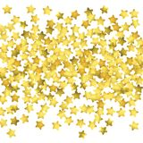 Star confetti. Gold random confetti background. Bright design template. Vector white and yellow cover template. Birthday or wedding invitation template Royalty Free Stock Image