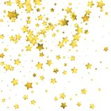 Star confetti. Gold random confetti background. Bright design template. Vector white and yellow cover template. Birthday or wedding invitation template Stock Images