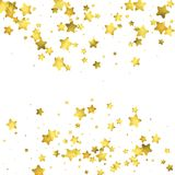Star confetti. Gold random confetti background. Bright design template. Vector white and yellow cover template. Birthday or wedding invitation template Royalty Free Stock Photos