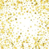 Star confetti. Gold random confetti background. Bright design template. Vector white and yellow cover template. Birthday or wedding invitation template Royalty Free Stock Photo