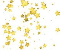 Star confetti. Gold random confetti background. Bright design template. Vector white and yellow cover template. Birthday or wedding invitation template stock illustration