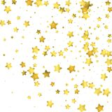 Star confetti. Gold random confetti background. Bright design template. Vector white and yellow cover template. Birthday or wedding invitation template Royalty Free Stock Photography