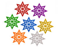 Star configuration. Seven stars isolated over white background Royalty Free Stock Photos