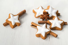 Star cookies with cinnamon sticks and anise stars Stock Photography