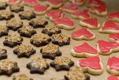 Star cookies with nuts and hearts Royalty Free Stock Photos