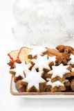 Star cookies, nuts, spices, Christmas decorations Royalty Free Stock Photos