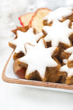 Star cookies, nuts and spices for Christmas, selective focus Royalty Free Stock Photo