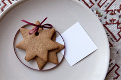 Star cookies with a paper note Stock Photo