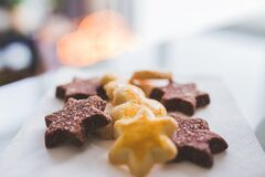 Star cookies on plate