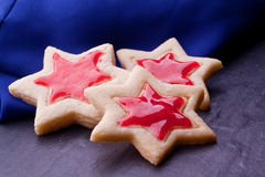star cookies with red jelly Stock Photo