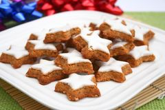 Star cookies. Some christmas star cookies on a plate Stock Image