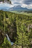 Star Creek Falls near Blairmore in Crowsnest pass, Canada. Southern Alberta landscape, beatiful canadian countryside, pure canadian nature stock photography