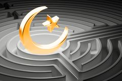 Star and crescent at the center of a maze, way to Islam religion. Concept Royalty Free Stock Images