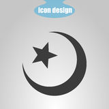 Star and crescent on a gray background. Vector illustration. Islamic symbol Stock Image