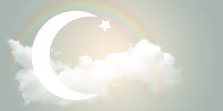 The star and Crescent in the sky. Royalty Free Stock Photo