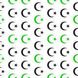 Star and crescent symbol seamless pattern Stock Photos
