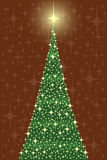 Star crhistmas tree in card. Christmas tree card with star lights over red background Stock Photos