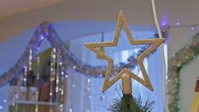 Star on cristmas tree stock footage