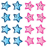 Star cute blue pink set Stock Image