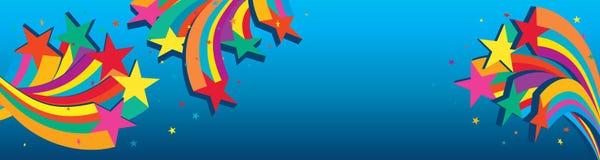 Star 3d line group blue banner royalty free illustration