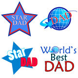 Star DAD. Designs in red and blue Royalty Free Stock Photography