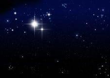 Star on the dark blue. Background