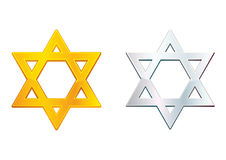 Star of David. Golden and silver isolated stars of David Stock Image