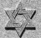 Star of David. Black and white picture of star of David on the stone royalty free stock image