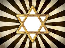 Star of David. Golden star of David isolated on an abstract background Stock Photos