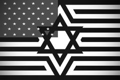 Star of David against the background of the American flag stock illustration