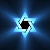 Star of David symbol blue light flare Royalty Free Stock Photos
