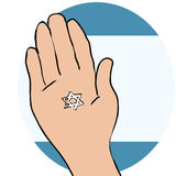 Star of David. Cartoon of Star of David in Palm of hand against suggested Israeli flag Stock Photo