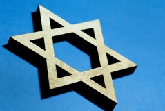 Star of David carved from wood stock image