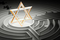 Star of David at the center of a maze, way to religion concept. 3D Stock Image