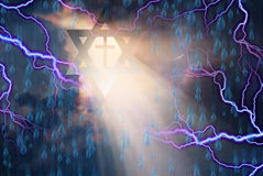 Star of David and Cross in Storm. With God Rays stock illustration