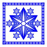 Star of David decoration tile. Composed of simply shapes in blue and white modern design, eps10 vector. Religious motif  line desi Royalty Free Stock Images
