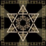Star of David decoration tile with geometric vintage yew ornament in gold design. Israel national symbol magen. Davids. Star in golden frame. Hannukah Royalty Free Stock Photography