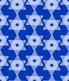Star of David decoration tile with geometric vintage yew ornament, white stars on dark blue background Royalty Free Stock Image