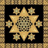 Star of David decoration tile with yew ornament in gold design stock illustration