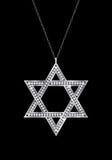 Star of David diamond necklace. vector illustration