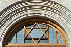 Star of David on a doorway of a synagog Royalty Free Stock Images