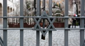 Star of David. On the fence Synagogue in Jewish quarter in Budapest Royalty Free Stock Images